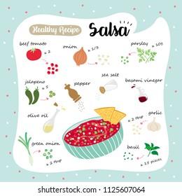vector illustration of a healthy recipe : salsa
