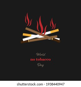 Vector illustration of a heap of different cigarettes burnt in flames as a symbol of smoking cessation. World No tobacco Day. Banner, poster, logo, etc. For various purposes of design.
