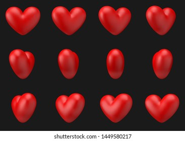 Vector illustration, Heart 3d animation rotate around itself 12 frame on black background, mesh objects