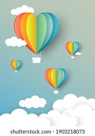vector illustration with heart air balloon rainbow made origami float over blue sky,Paper art style.Vector symbols of love for Happy Women's, Mother's, Valentine's Day, birthday greeting card design.