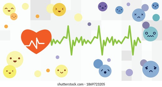 vector illustration of heart beat and emotional state dependence
