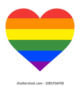 Vector illustration of the heart with the gay pride rainbow
