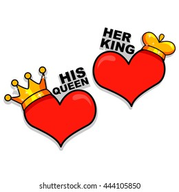 Vector Illustration of Heart as King and Queen