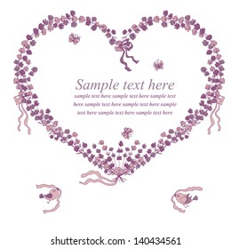 Vector illustration with heart of lavender, birds and place for your text. Can be used for wedding invitation, card for Valentine's Day or card about love.