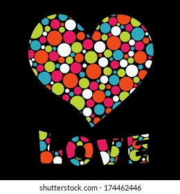 Vector illustration with heart and Love text. Happy Valentine's greeting card, invitation. EPS
