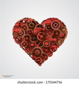 Vector Illustration of a heart made with gears, Mechanics red Heart icon.