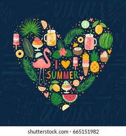 Vector illustration of heart made from summer elements: food, drinks, palm leaves, fruits and flamingo. Bright summertime poster. Concept background.