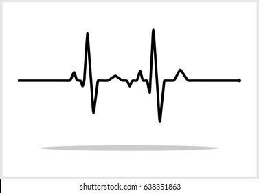 Vector Illustration of heart rhythm ekg vector ECG heart pulse