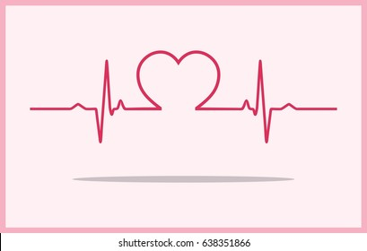 Vector Illustration of heart rhythm ekg vector ECG heart pulse with heart in middle and background