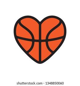 Vector illustration of heart shape basketball