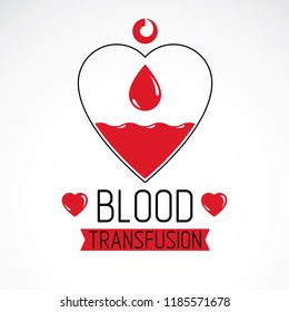 Vector illustration of heart shape. Blood transfusion concept, charity and volunteer conceptual logo for use in medical care advertisement.