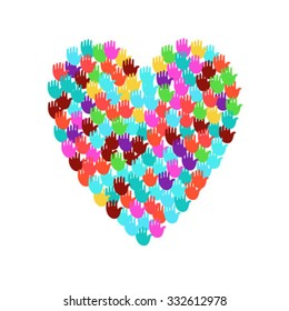 Vector Illustration Of A Heart Shape Filled With Colorful Hand Prints Multiple Open Palms Make