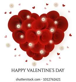 Vector illustration, heart shaped bouquet of roses with pearls. Valentines day card design element.