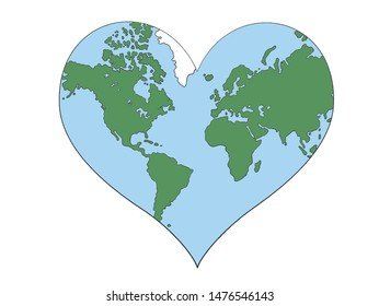 Vector illustration with heart shaped planet earth in isolate on white background.