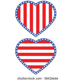 Vector illustration of a heart with stars and stripes in the color of the flag of the United States