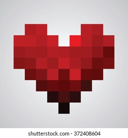 Vector illustration of heart symbol in pixel art style