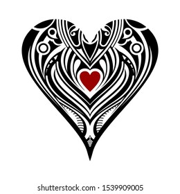 Vector illustration heart. Two hearts intertwined. This vector is suitable for all print jobs, plotter cutting jobs, mold making and laser jobs. Vintage ornamented heart design.