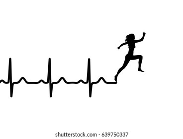 vector illustration of heartbeat electrocardiogram and running woman. medicina