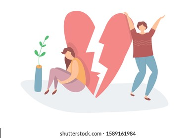 Vector illustration of Heartbroken Couple Parting. Sad woman and happy man. End of love and an abusive relationship