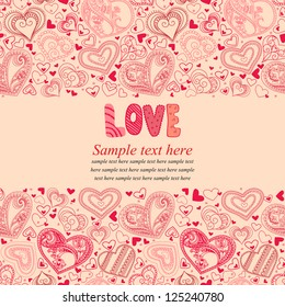 Vector illustration with hearts  and place for your text. Can be used for wedding invitation, card for Valentine's Day or card about love.