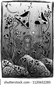 Vector illustration. Hedgehog lost in giant mushrooms
