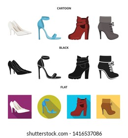 Vector illustration of heel and high icon. Collection of heel and stiletto stock symbol for web.