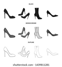 Vector illustration of heel and high sign. Set of heel and stiletto stock symbol for web.