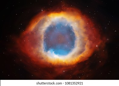 Vector illustration with Helix Nebula. Planetary nebula in deep space. Abstract colorful background