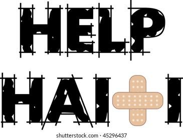 Vector Illustration to Help Haiti with a bandage to heal. Earthquake struck Haiti on January 12, 2010.