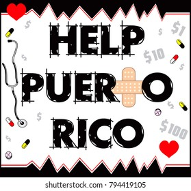 Vector Illustration to Help Puerto Rico with a bandage to heal. Hurricane Irma and Hurricane Maria hit Puerto Rico in September 2017.