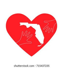 Vector Illustration: helping hands, heart and Florida map. Donate, love, charity or helping hand icon. Support for volunteering work and relief after Hurricane Michael, floods, landfalls in Florida