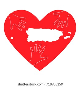 Vector Illustration: helping hands and Puerto Rico map. Great as donate, love, relief or helping hand icon. Support for charity or relief work after Hurricane Maria, floods, landfalls in Puerto Rico.