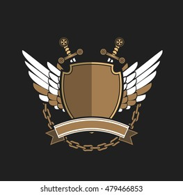 Vector illustration of heraldic coat of arms symbol logy with additional space for your Insignia
