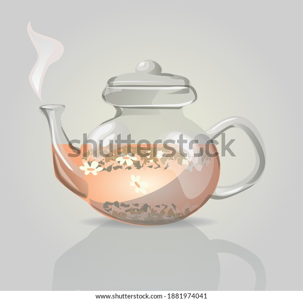 Vector illustration of an herbal drink in a beautiful teapot.