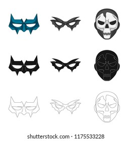 Vector illustration of hero and mask symbol. Set of hero and superhero vector icon for stock.