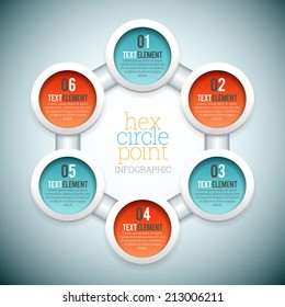 Vector illustration of hex circle point infographic elements.