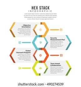 Vector illustration of hex stack infographic design element.