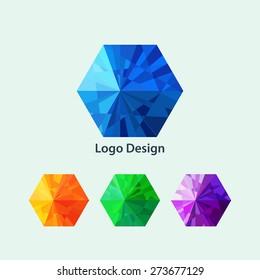 Vector illustration of a hexagon logo.