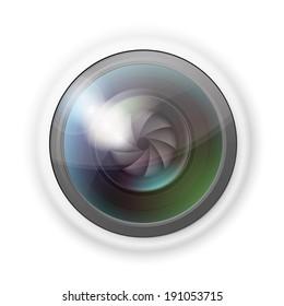 Vector illustration of hidden photocamera lens on white background