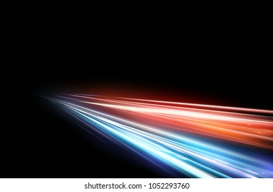 Vector illustration of high speed light effect on black background. movie effect, motion, night lights.