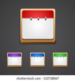 Vector illustration of high-detailed calendar icon in different colors.