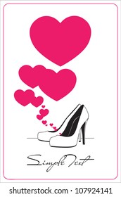 Vector illustration of a high-heeled shoes and hearts.