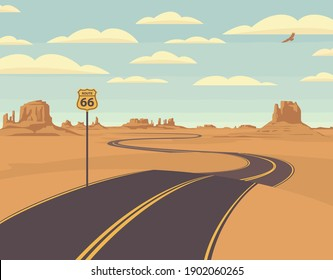 Vector illustration of a highway in the desert and mountains. Summer landscape with empty road. Historic US Route 66, roadway with a pointer, the horizon with a sandy wasteland. Nature background