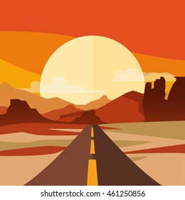 Vector illustration of highway in desert and mountains. Summer landscape with empty road. Country street road, flat style illustration. Nature background.