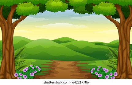 Vector illustration of Hills view with dirt path in the forest