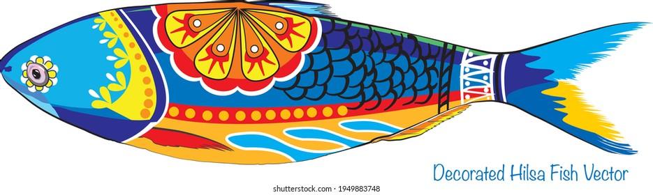 vector illustration of Hilsafish (Tenualosa ilisha) hilsa herring terbuk ilish, or hilsa shad (national fish of Bangladesh) popular fish in Pohela Boishakh and jamai sasthi among Bengali's in kolkata