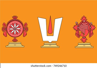 Vector illustration of Hindu God: Lord Venkateswara or Lord Balaji with yellow background
