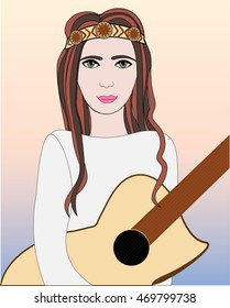 Vector illustration of Hippie girl with guitar