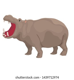 Vector illustration of hippo with open mouth isolated
