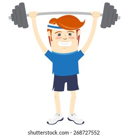 Vector illustration Hipster funny man lifting barbell. Flat style
